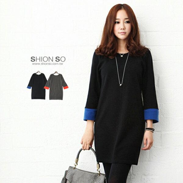 享瘦衣舍中大尺碼【B1361】時尚OL拼接袖造型洋裝