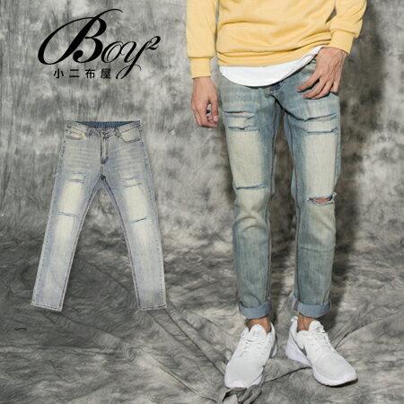 ☆BOY-2☆【NQ95705】刀割褲  刷白割破街頭單寧牛仔褲 0