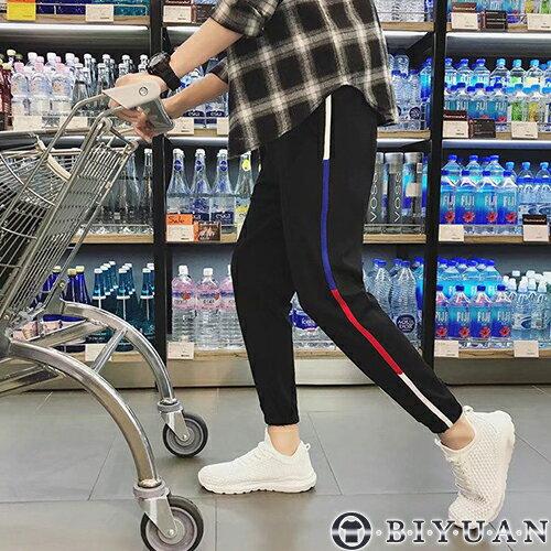 紅白藍織帶運動束口褲【FYBU1】OBIYUANJOGGER抽繩九分休閒褲共1色