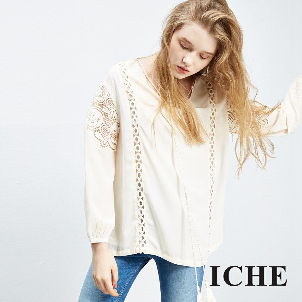 ICHE 衣哲 蕾絲簍空拼接上衣