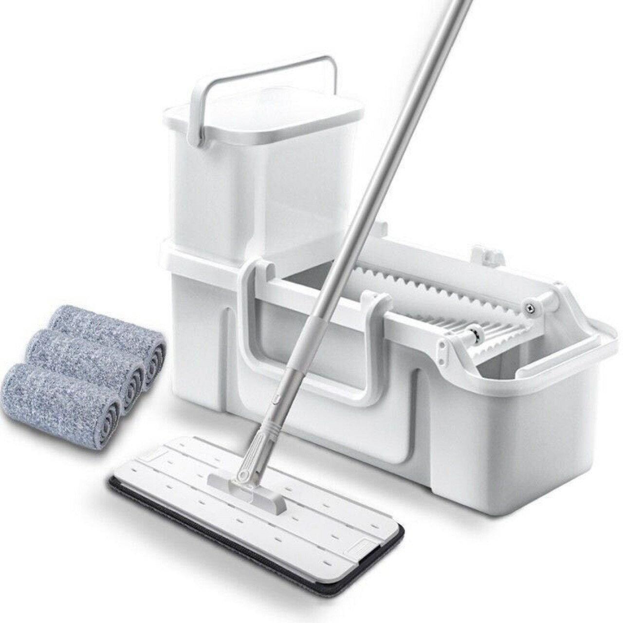 清汙分離刮刮樂平板拖把套裝 贈三塊拖布 髒水不重複用 地板清潔 吸水拖把 掃具 自濾拖把【HA0110】《約翰家庭百貨