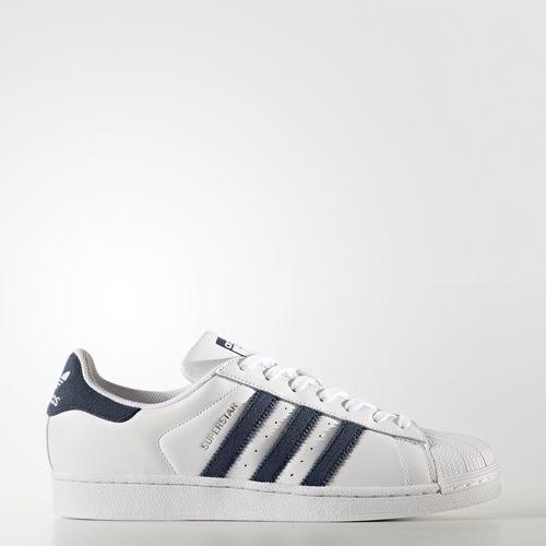 [尋寶趣]Adidas originals SUPERSTAR 男女 休閒 貝殼 白 藍 BZ0190