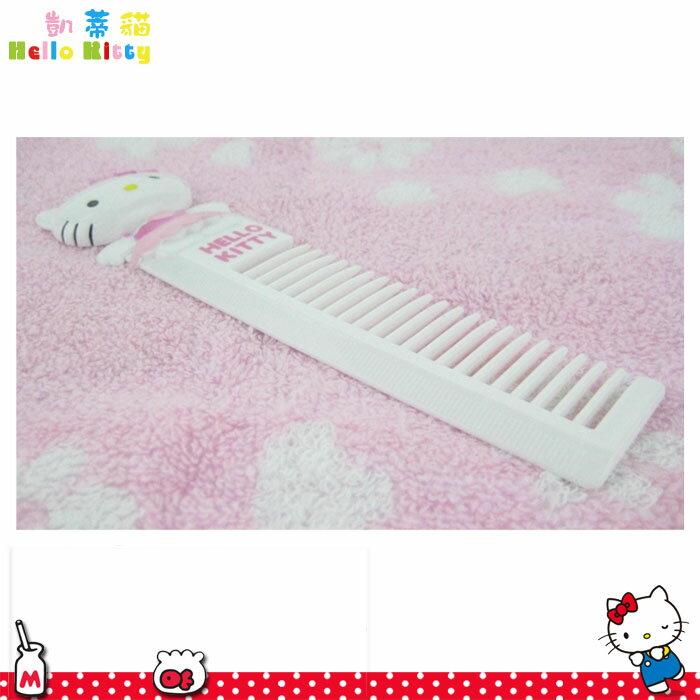 大田倉 日本進口正版Hello Kitty凱蒂貓 造型魚骨梳梳子 側附10cm刻度尺後附小鏡子 251714