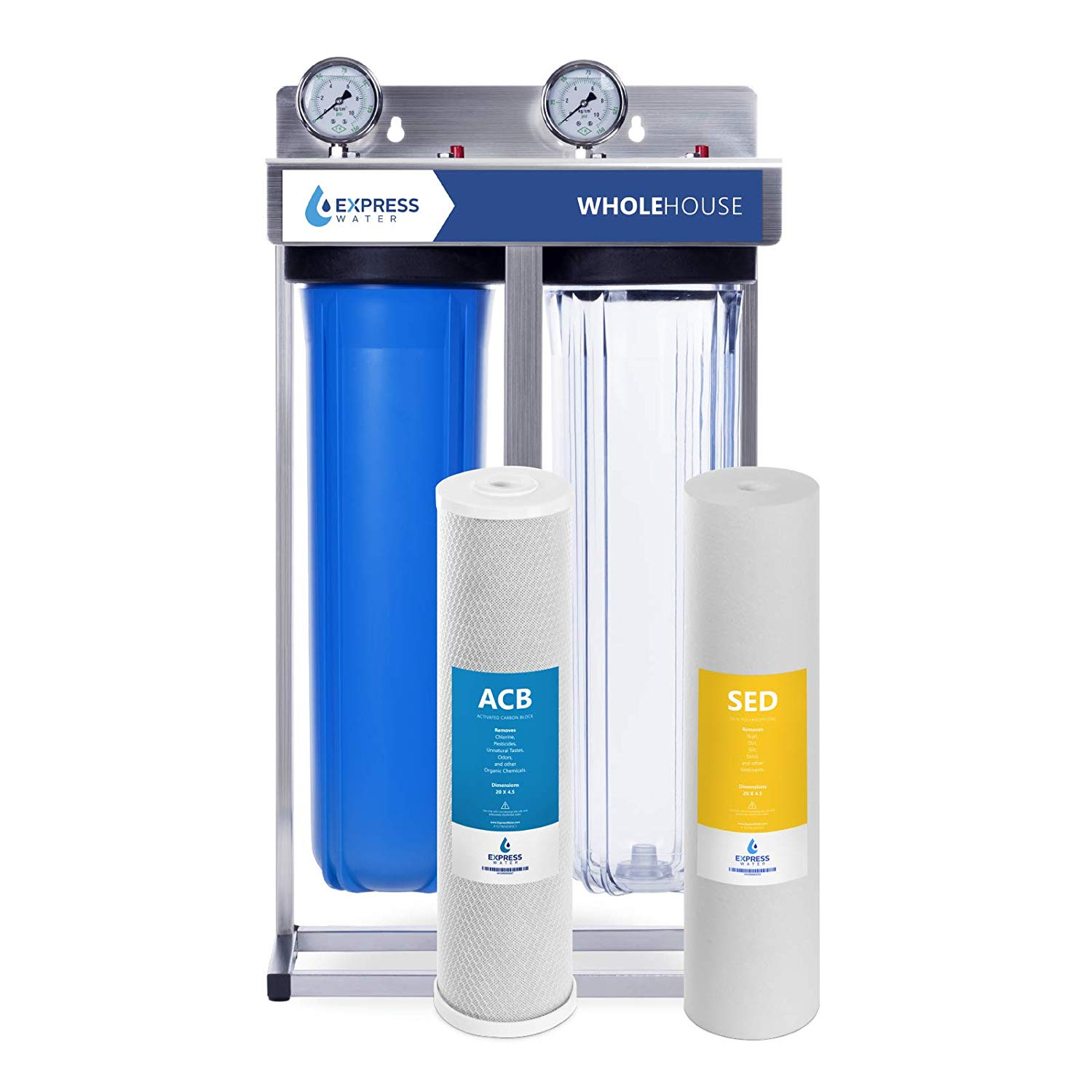 Express Water Whole House Water Filter – 2 Stage Home Water Filtration  System – Sediment and Carbon Filter – includes Pressure Gauge, Easy