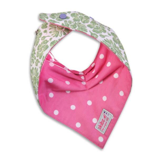★衛立兒生活館★英國 Skibz 綠花粉紅點點時尚雙面領巾