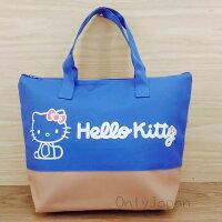 凱蒂貓週邊商品推薦到【真愛日本】17123000001 拉鍊寬底保冰冷餐提袋-KT藍 三麗鷗家族 凱蒂貓 KITTY 日用品 手提袋