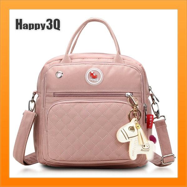 手提包斜背包雙肩包後背包女生包媽咪包大容量外背包-粉藍紅黑彩【AAA4966】