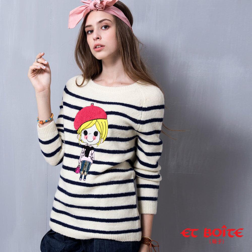 【990元優惠↘】ET BOiTE 箱子  ET Amour 畫家娃娃針織長袖衫(白) - 限時優惠好康折扣