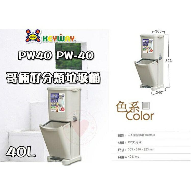 【免運】台北四分類垃圾桶 (40L) PW-40 ☆愛收納☆ 聯府 垃圾桶 腳踏垃圾桶 踏式垃圾桶 PW40