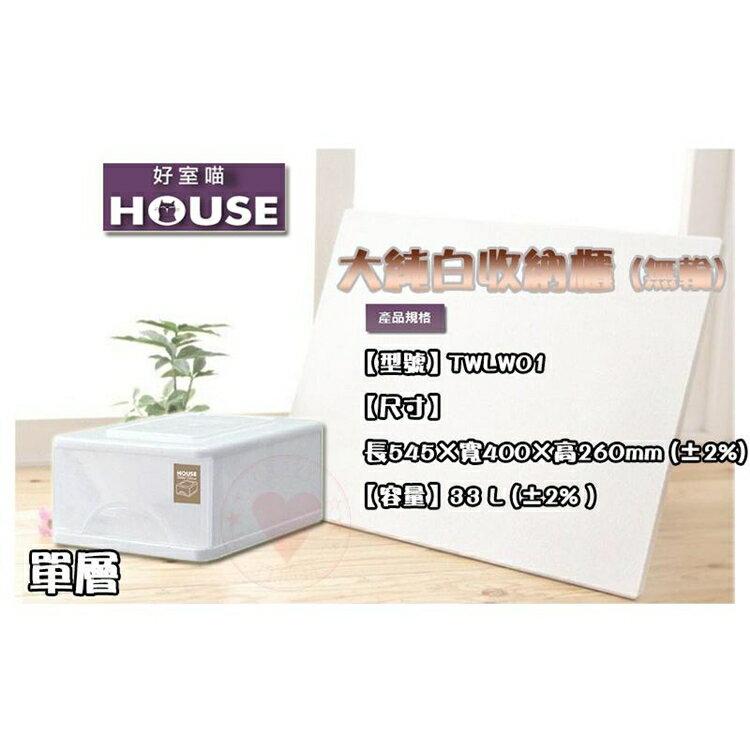 免運 (單層) 大純白收納櫃 大詠 HOUSE 收納櫃 整理櫃 置物櫃 收納櫃 層櫃 抽屜整理櫃 TWLW01