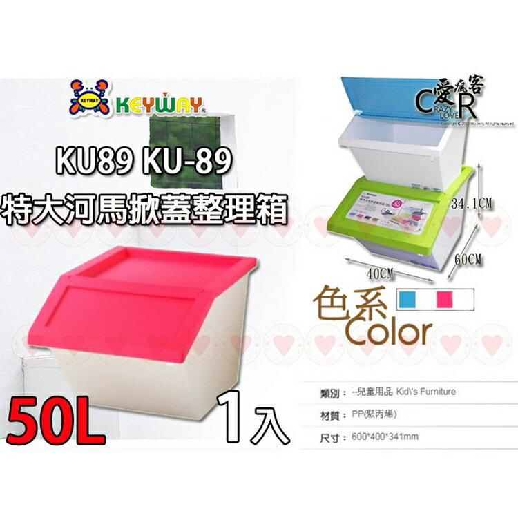 特大河馬掀蓋式整理箱(50L) KU89 聯府 KEYWAY 整理箱 收納箱 置物箱 抽屜整理 KU-89