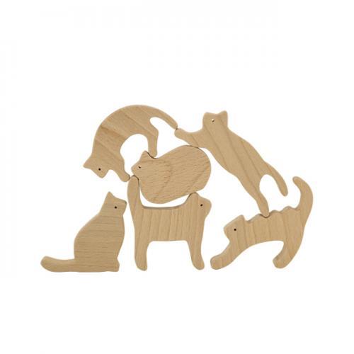 【MUKU工房】 北海道 旭川 工藝 tek 無垢 貓兒積木 (原木  /  實木) - 限時優惠好康折扣