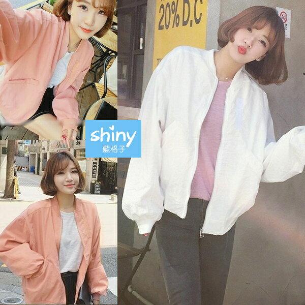 【V2506】shiny藍格子-簡搭風格.純色寬鬆拉鍊薄款長袖外套