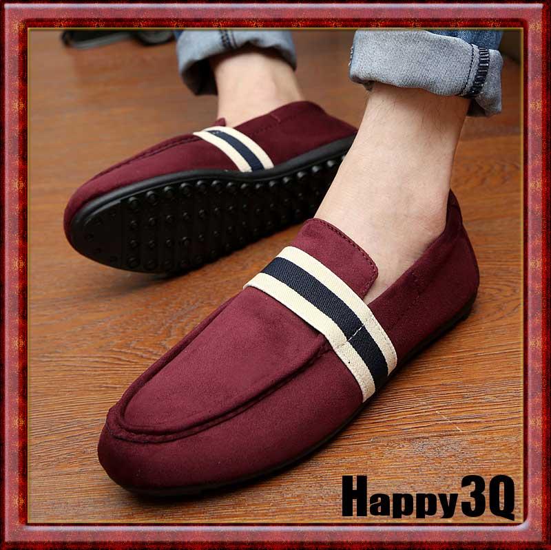 休閒風麂皮條紋透氣舒適輕鬆好穿脫懶人鞋男鞋-黑/藍/紅39-44【AAA0669】