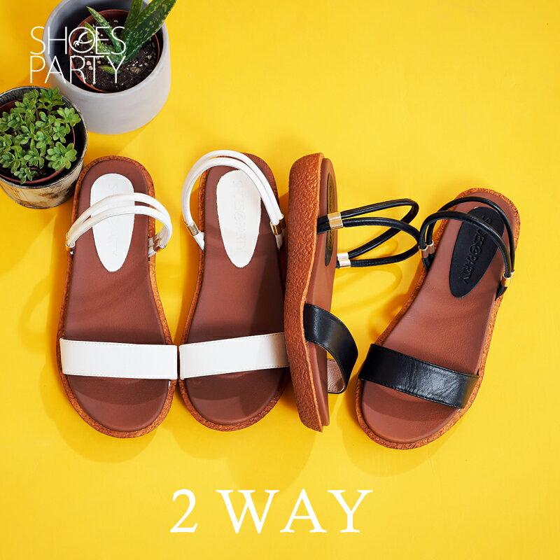 【S2-17615L】Simple+久走不累一字帶兩穿涼鞋_Shoes Party 0