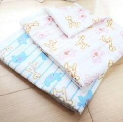 【GMP BABY】東京西川 - 長頸鹿大象 今治三重紗超吸水長方巾-藍/粉