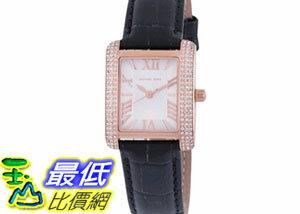 [COSCO代購如果沒搶到鄭重道歉] Michael Kors 黑色皮革長方形錶面石英女錶 _W953971