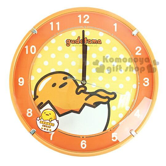 〔小禮堂〕蛋黃哥 圓型壁掛鐘《大.黃.點點.躺姿.盒裝》