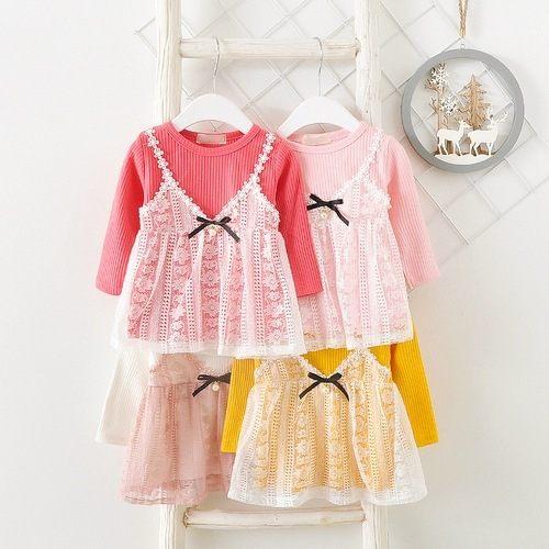長袖洋裝 假兩件蕾絲連身裙 洋裝 童裝 UG33120 好娃娃