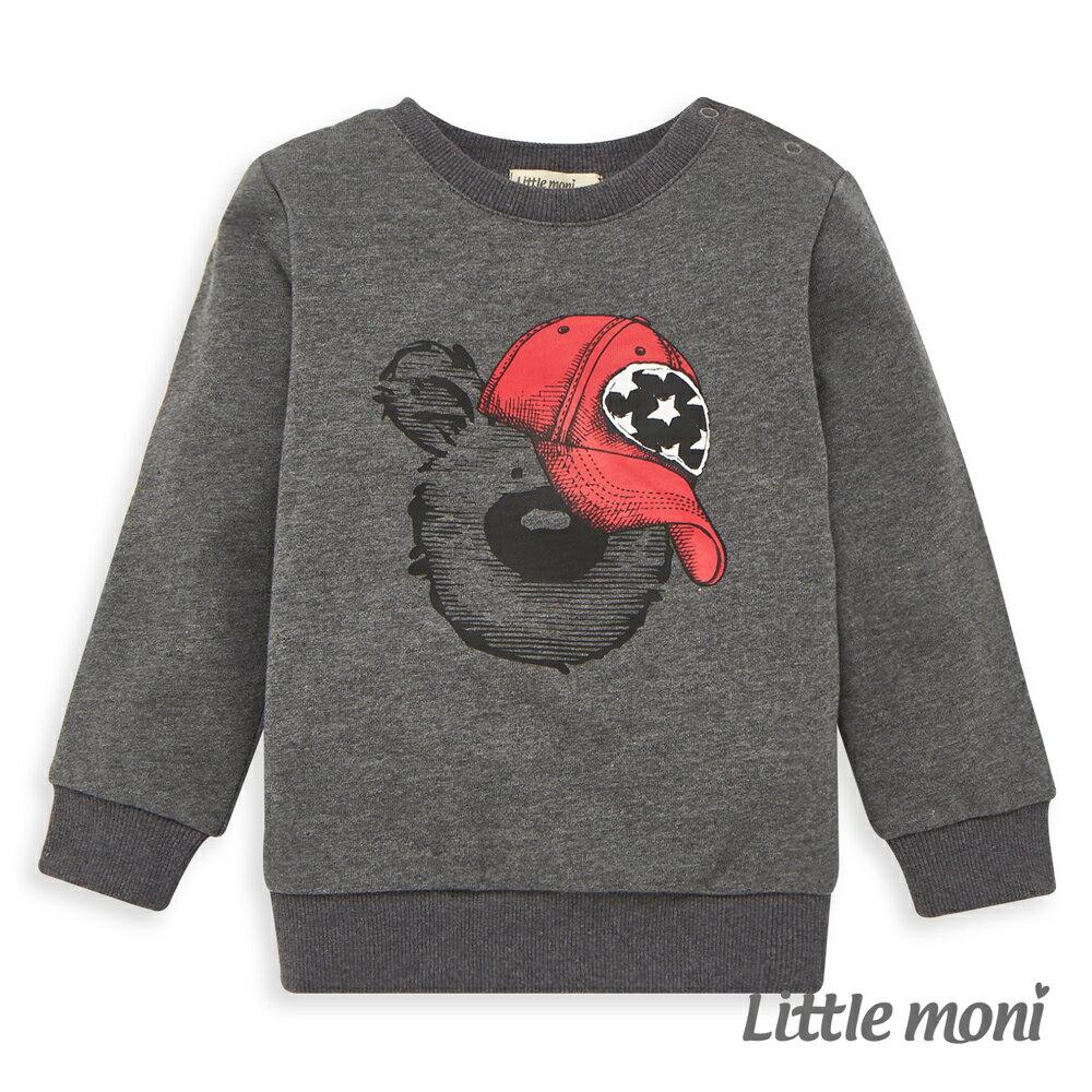 Little moni 圓領印圖毛圈上衣 -灰色(好窩生活節) 0