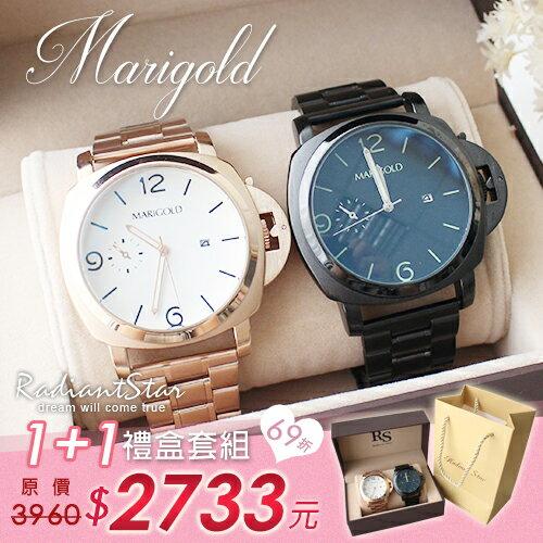 愛之禮 為愛痴狂RS 1 1大錶面鋼帶手錶對錶 二入組~WWMD20928~璀璨之星~