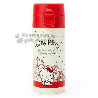 〔小禮堂〕Hello Kitty 直飲式不銹鋼保溫瓶《紅黃.坐姿.點點.350ml》輕量化隨身瓶