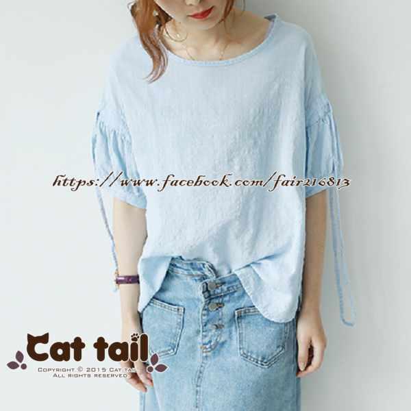 《貓尾巴》LZ-03161小清新純色開叉短袖上衣(森林系日系棉麻文青清新)
