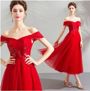 天使嫁衣【AE2868】紅色一字領亮片珠繡遮臂收腰中長款禮服˙預購訂製款