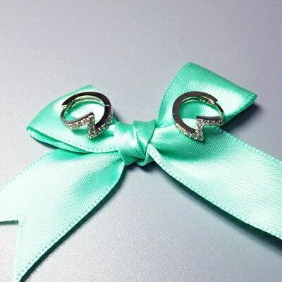~925純銀耳環鑲鑽耳飾~ 閃電 生日情人節 女飾品73ia34~ ~~米蘭 ~