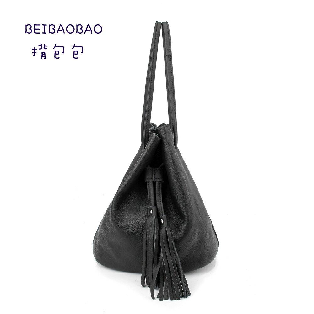 【BEIBAOBAO】法式甜美真皮流蘇水桶包(神秘黑) 0