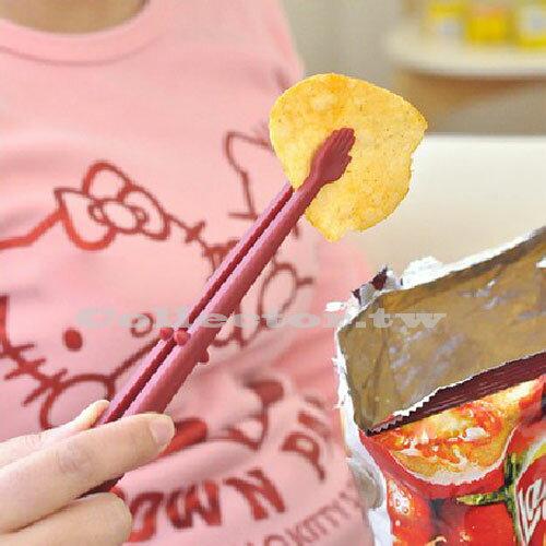 【F14090401】日式時尚創意薯片手 零食夾 食品小夾子 安全衛生