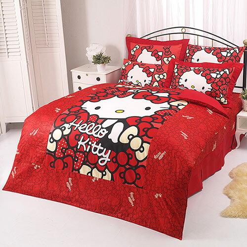 【享夢城堡】HELLO KITTY 我的Ribbon時尚系列-雙人純棉四件式床包涼被組(紅)