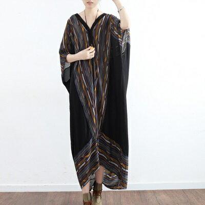 連身長裙寬版連衣裙-民族風條紋蝙蝠袖雪紡女上衣73sm40【獨家進口】【米蘭精品】