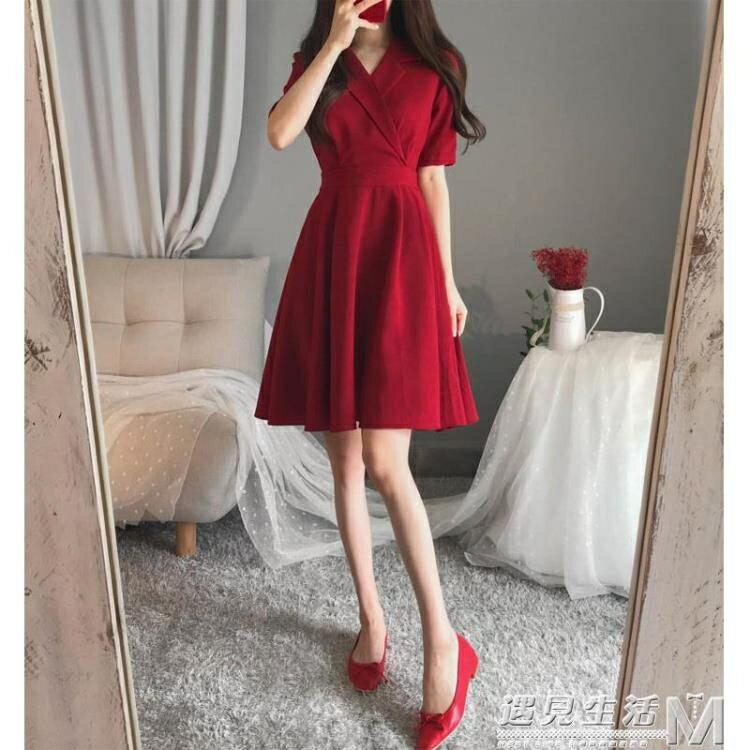 大碼女裝年夏裝新款洋氣胖妹妹減齡藏肉顯瘦胖mm紅色洋裝子 麥田印象