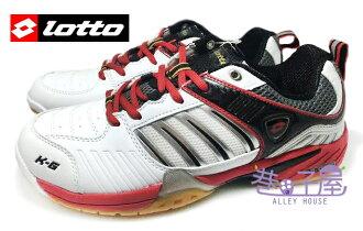 【巷子屋】義大利第一品牌-LOTTO樂得 男款多功能專業透氣羽球鞋/排球鞋 [2072] 白紅 超值價$690