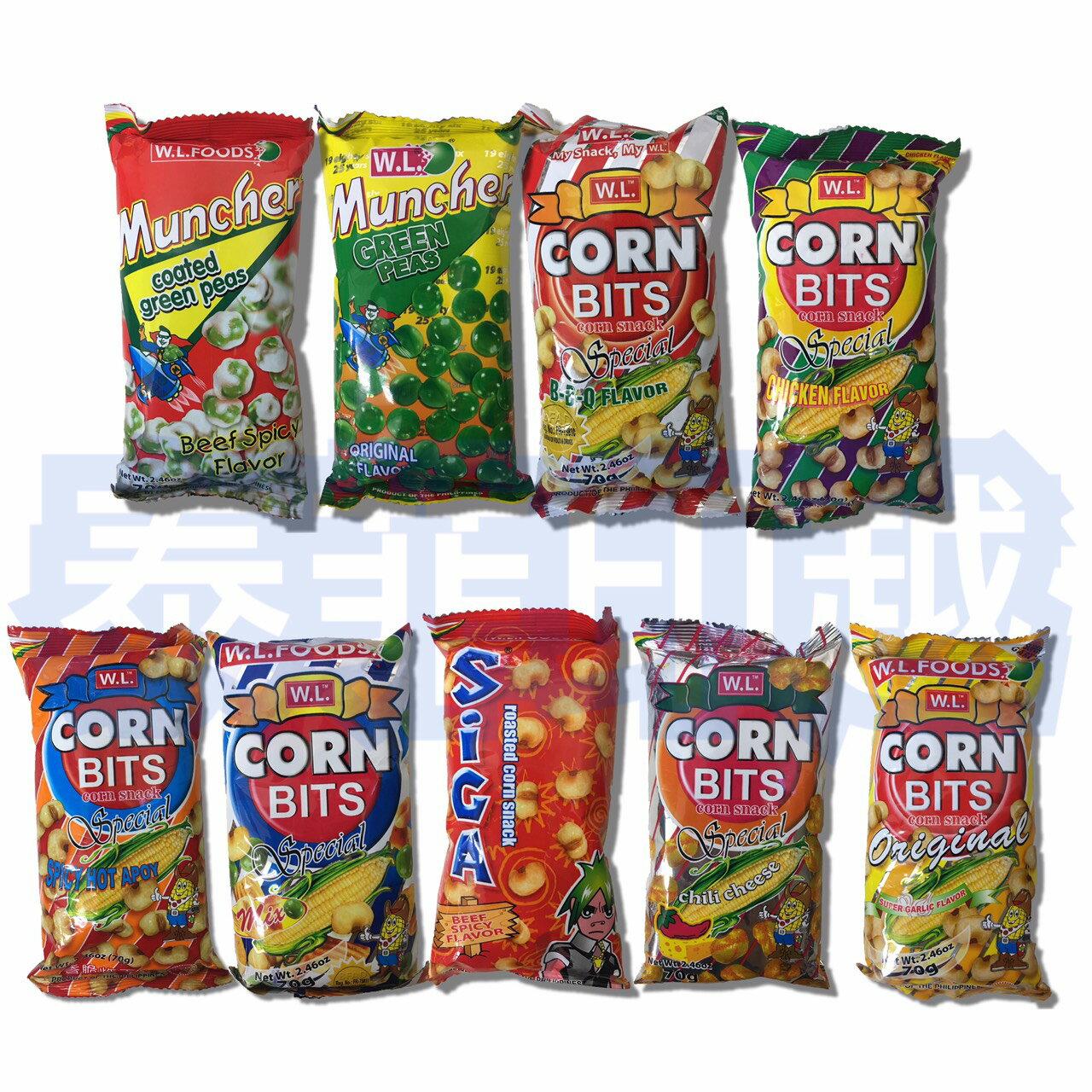 菲律賓 W.L 炸玉米 CORN BITS 玉米粒 青豆 70克