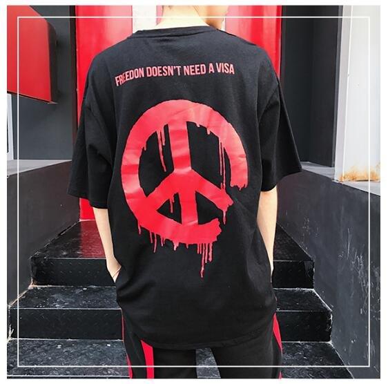 FINDSENSE MD 韓國 街頭時尚 潮 男 特色反戰LOGO 個性T恤 短袖T恤 特色短T LogoT恤