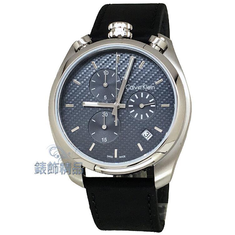 【錶飾精品】CK手錶Calvin Klein K6Z371C4 深藍黑色編織紋錶盤 日期計時 上龍頭 黑皮帶男錶 全新正品