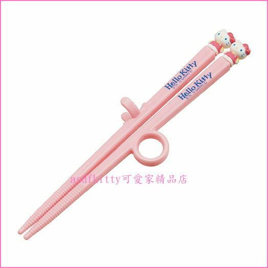 asdfkitty可愛家☆KITTY粉色兒童學習筷-第一階段右手用-有止滑圈歐-日本正版商品
