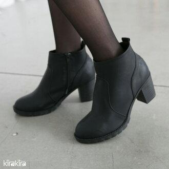 短靴-簡約率性側拉鏈精緻皮革低粗跟短靴