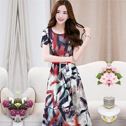 [零碼現貨出清]波西米亞沙灘雪紡連身裙(2色,M~2XL)-ORead自由風格