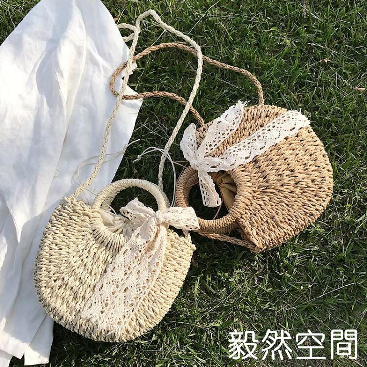 編織包女草編包包2020新款潮沙灘側背斜背包女百搭ins夏天手提包