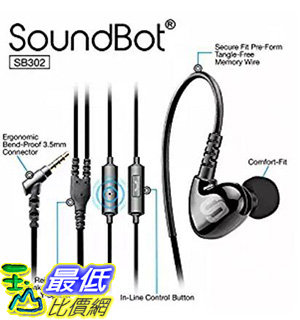 [106 美國直購] Soundbot SB302 Secure Fit Sports Active Earphone for Smartphone, Tablets, MP3 Players - B..