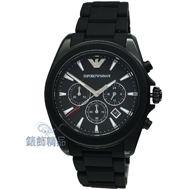 【錶飾精品】ARMANI手錶 亞曼尼表 AR6092 日期 計時 IP黑 橡膠包覆鋼帶男錶 全新原廠正品 情人生日禮物