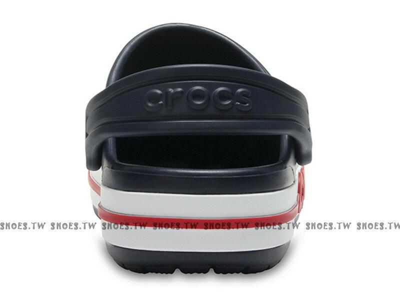 《CROCS出清69折》Shoestw【205100-410】CROCS 卡駱馳 鱷魚 輕便鞋 拖鞋 涼鞋 側LOGO 深藍白紅 童鞋款 2