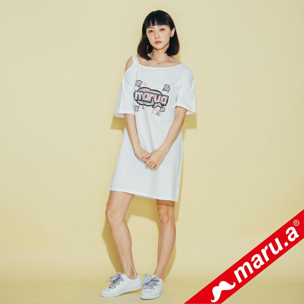 【maru.a】胸前maru.a印花背後織帶裝飾露肩洋裝 8317111 0
