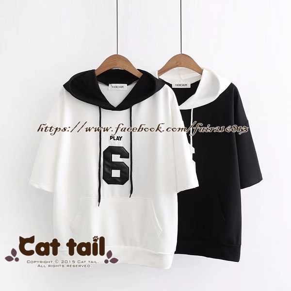 《貓尾巴》TS-0708日系簡約字母印花連帽短袖T恤(森林系日系棉麻文青清新)