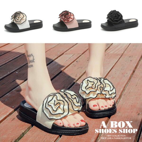 【AD1866-2】涼拖海灘鞋4CM低粗跟花朵PU厚底穿拖MIT台灣製3色