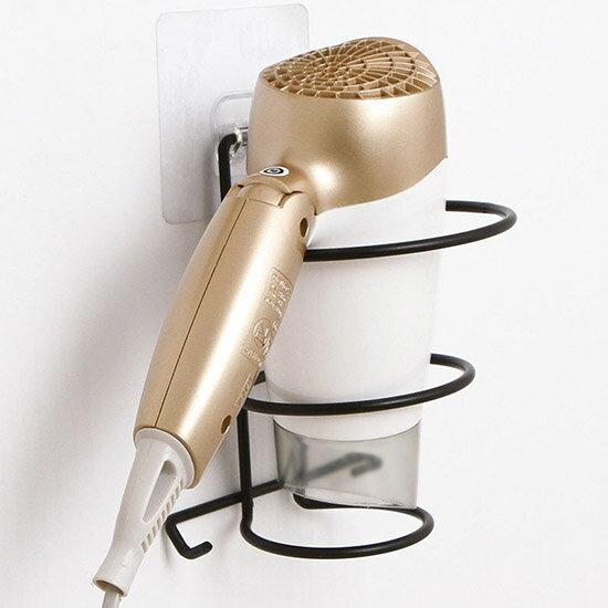 ♚MYCOLOR♚免打孔鐵藝吹風機架壁掛架浴室收納架強力吸盤廁所置物架廚房強力黏膠防水壁掛【N443】