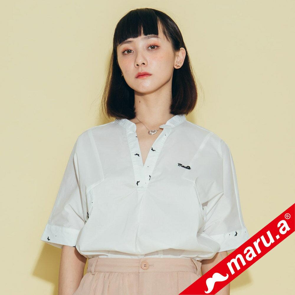 【maru.a】印花拼接V領寬鬆襯衫(2色)8313118 3